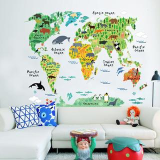 ウォールステッカー/世界地図 動物と大陸 おしゃれ雑貨