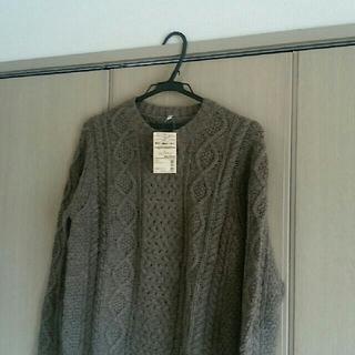 MUJI (無印良品) - 新品タグ付 無印良品 メリノウール アラン柄セーター ニット L