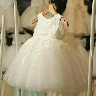 80☆新品☆可愛いバックリボンレースホワイトドレス
