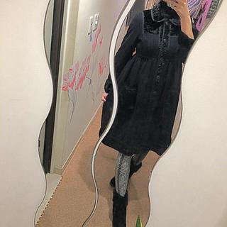 アナスイ(ANNA SUI)のANNA SUI 上質で暖か ワンピース風コート 異素材ベルベット(モッズコート)