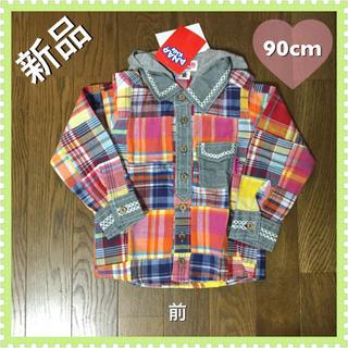 アナップキッズ(ANAP Kids)の新品☆ANAPフード付きチェックシャツ☆90cm(ブラウス)