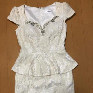 ジャスミン(ジャスミン)の白ビジューミニドレス レース Sサイズ(ナイトドレス)