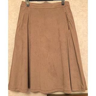 ベルメゾン(ベルメゾン)のベルメゾン千趣会スエード調の台形スカート(LL)中古美品ベージュ系(ひざ丈スカート)