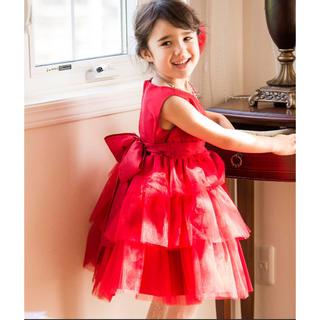 キャサリンコテージ(Catherine Cottage)の赤のチュールティアードドレス キャサリンコテージ 新品未使用!100サイズ(ドレス/フォーマル)