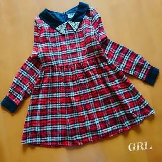 グレイル(GRL)の【GRL】衿パール ビジュー/チェック柄 長袖ワンピース M(ミニワンピース)