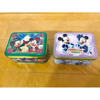 ディズニー(Disney)の【空缶】ディズニー カンカン 2個セット ✳︎お菓子缶 ✳︎クリスマス(小物入れ)