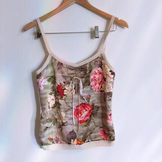 Lochie - ヴィンテージ  花柄 ニット ビスチェ キャミソール
