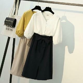 大きいサイズ 二点セット気質が良い優雅 七分袖 Vネックトップス&着やせスカート(ひざ丈スカート)