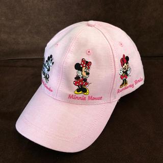 ディズニー(Disney)の香港 ディズニー 限定 ミニー 歴代 刺繍 キャップ 帽子 ピンク(キャップ)