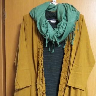 sold out‼️【新品】ゆったり着れる2枚重ね風トッパー型の綿の羽織り物 (ロングコート)