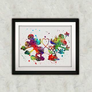 ディズニー(Disney)のミッキーマウス&ミニーマウス・アートポスター【額縁つき・送料無料!】(キャラクターグッズ)