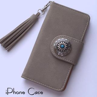 iPhoneケース コンチョ&フリンジ付き スエード調 手帳型ケース グレージュ
