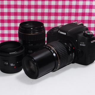 キヤノン(Canon)の超高画質でWi-Fi♪Canon キャノン 8000D トリプルレンズセット♪(デジタル一眼)
