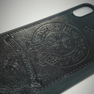 【ブラック】iPhoneX スマホケース最新クロムハーツタイプデザインXSにも!(iPhoneケース)
