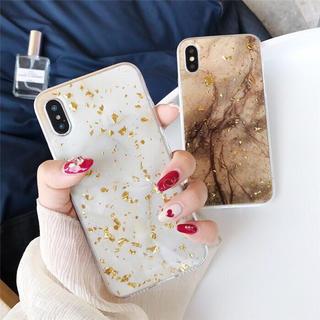 【新品】iPhone X 大理石風 iPhoneケース ブラウン(iPhoneケース)