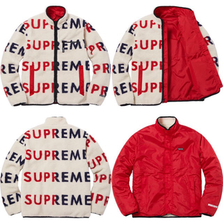 シュプリーム(Supreme)のSupreme Reversible Logo Fleece Jacket白L(ブルゾン)