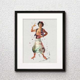 ディズニー(Disney)の日本未発売!アラジン・アートポスター【額縁つき・送料無料!】(キャラクターグッズ)