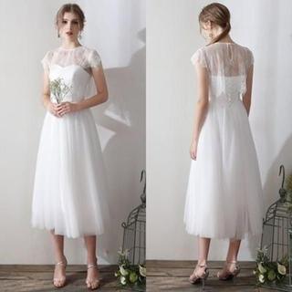 ウエディングドレス*ミモレ丈*ドレス+ボレロ+ネックレス