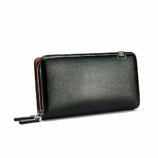 ■大人気 即決●高級感 大容量 セカンドバッグ風 ダブルファスナー 長財布 BL(セカンドバッグ/クラッチバッグ)