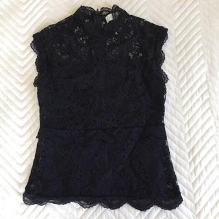 ミコアメリ レーストップス 白と黒(シャツ/ブラウス(半袖/袖なし))