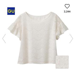 ジーユー(GU)のGU*レースラッフルブラウス(シャツ/ブラウス(半袖/袖なし))