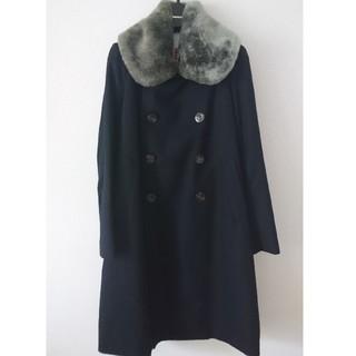 スワンレイク(SWANLAKE)のswan lake スワンレイク 襟ファー ウールコート ネイビー(ロングコート)