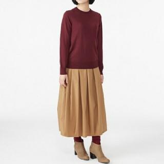 MUJI (無印良品) - ◆最新◆新品◆無印良品ウールシルク洗えるクルーネックセーター/ボルドー/XL