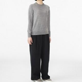 MUJI (無印良品) - ★最新★新品★無印良品ウールシルク洗えるクルーネックセーター/グレー/XL