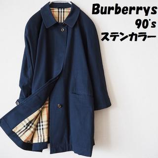 バーバリー(BURBERRY)の【90's】バーバリー ステンカラーコート 珍しいビッグロゴ レディース(チェスターコート)