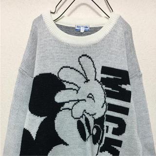 ディズニー(Disney)の美品 Mickey ビック刺繍 ニット スウェット 激カワ 白×黒 サイズM(スウェット)