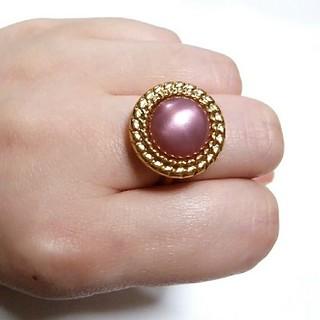 C.ピンク × ゴールド ボタン リング 指輪★アンティーク風 レトロ