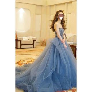 豪華ウェディングドレス カラードレス オフショル トレーン