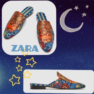 ザラ(ZARA)のsale!新品タグ付☆ZARAザラ☆スカーフ柄ミュールローファー37(スリッポン/モカシン)