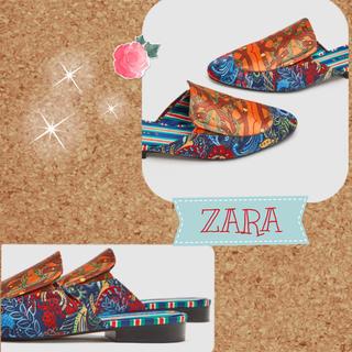 ザラ(ZARA)のsale!新品タグ付☆ZARAザラ☆スカーフ柄ミュールローファー36(ハイヒール/パンプス)
