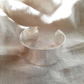 silver wide bangle  *