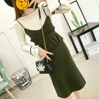秋 ファッション 上品 気質が良い優雅 着やせ つりニットのスカート2点セット(ひざ丈ワンピース)