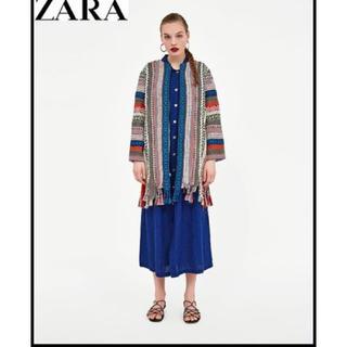 ZARA - sale!新品タグ付☆ZARAザラ☆フリンジ付ジャガードトリミングコート