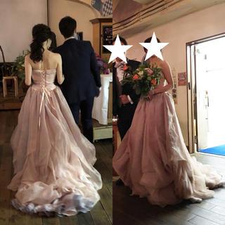 薄ピンク ウェディングドレス 二次会 お色直し