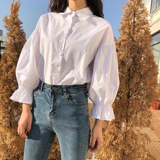 ZARA - ボリューム袖フリルデザインシャツ