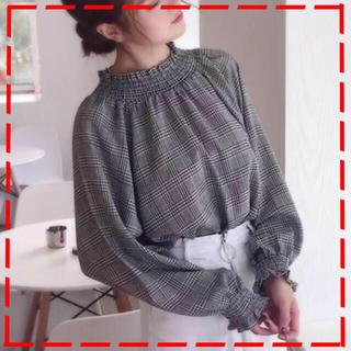 ザラ(ZARA)のパフスリーブ グレンチェック ボリューム袖 ブラウス トップス 体型カバー(シャツ/ブラウス(長袖/七分))