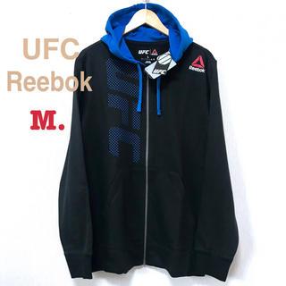 リーボック(Reebok)のL相当 新品 UFC リーボック フルジップ ロゴパーカー M 黒 青(パーカー)