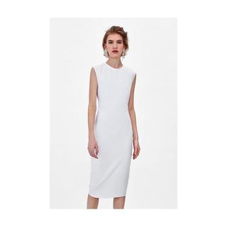 ザラ(ZARA)の新品未使用 ZARA ホワイト ドレス(ひざ丈ワンピース)