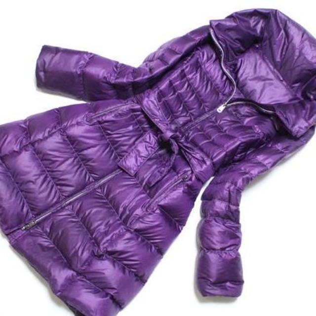 美品 マックスマーラ ベルト付ダウン コート44女優襟 パープル レディースのジャケット/アウター(ダウンジャケット)の商品写真
