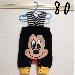 Disney - 着画あり ミッキー サロペット つなぎ ロンパース  80