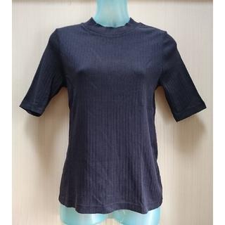ユニクロ(UNIQLO)の美品 五分袖 リブ ハイネック Tシャツ ネイビー M ユニクロ(カットソー(長袖/七分))