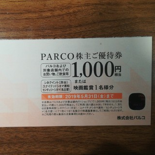 パルコ 株主優待 1000円券(ショッピング)