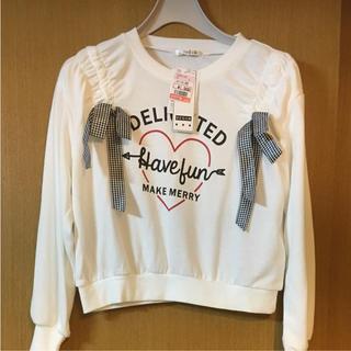 シマムラ(しまむら)の新品 しまむら リボン チェック ロゴ 女児 160 女子 スエット トレーナー(Tシャツ/カットソー)