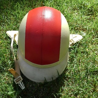 オージーケー(OGK)のOGK ヴィンテージヘルメット M バイク レッド×ホワイト(ヘルメット/シールド)