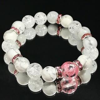 a23★12ミリ青龍ピンク彫水晶★10ミリ クラック水晶★ハウライト★ブレス