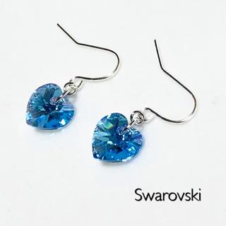 SWAROVSKI - スワロフスキーピアスorイヤリング♡アクアマリンオーロラハート